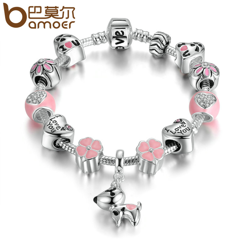 BAMOER New Arrival Silver Color Lovely Dog Pink Heart Flower Charms Bracelets For Women Fashion DIY Jewelry PA1501 4 style 925 basic snake chain bracelets round flower love heart pink color buckle bracelets for women diy charms jewelry
