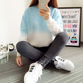 2016 New Spring Autumn Harajuku Hoodies Thick Fleece Gradient Color Loose Casual Sweatshirt Women Sweatshirts Tracksuit Moletom