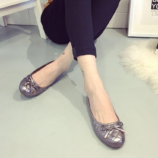 Мода 2017 pu кожа с плоским женские туфли мягкое дно Горох обувь с Лук женщины мокасины Корова Мышцы женские Лодка обувь