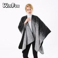 Winfox 2017 Yeni Moda Kış Siyah Gri Batik Boyama Şal Wrap Bayan Bayanlar Için Açık Ön Panço
