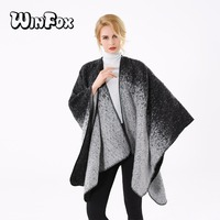 Winfox 2017 New Fashion Winter Black Grey Tie Dye Painting Shawl Wrap Open Front Poncho For