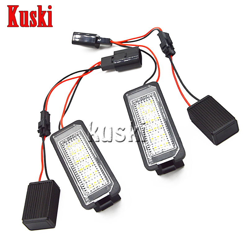 2Pcs LED Number License Plate Lights 12V SMD LED Canbus Lamp Car Styling For VW Golf GTI 4 5 6 Passat Polo CC Phaeton New Beetle  qook 2piece car error free led license number plate light lamp for porsche vw golf polo passat seat number plate lamp