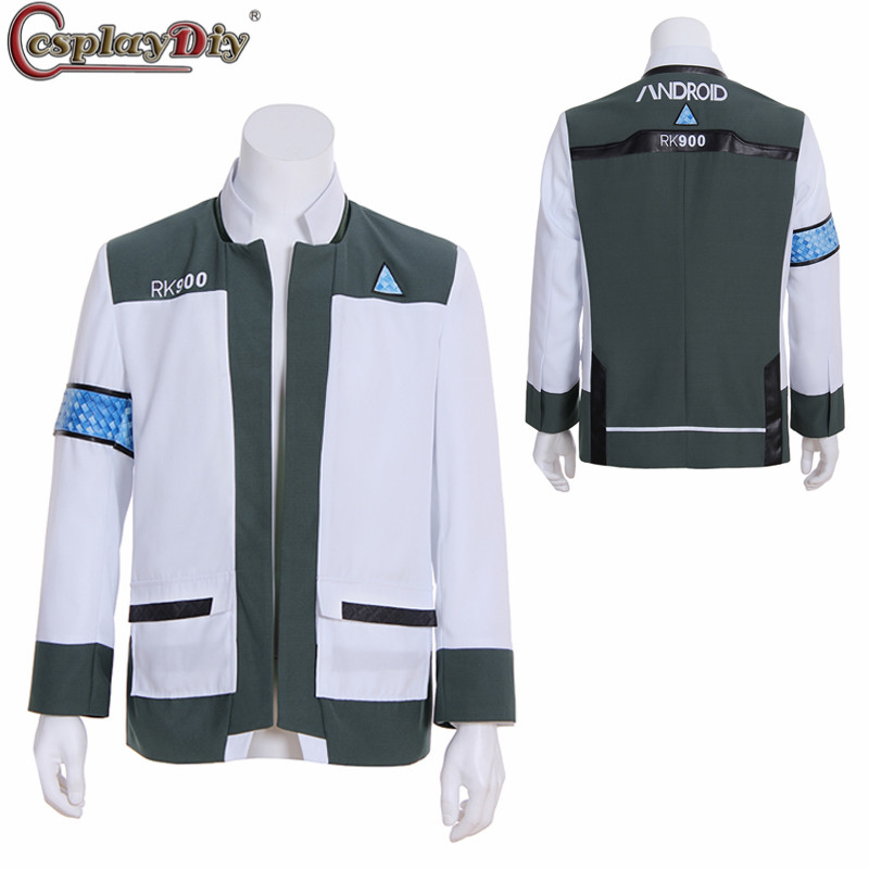 Detroit Become Human Connor Android RK900 Agent Suit Uniform Cosplay Men Coat Jacket Top Halloween Outfit