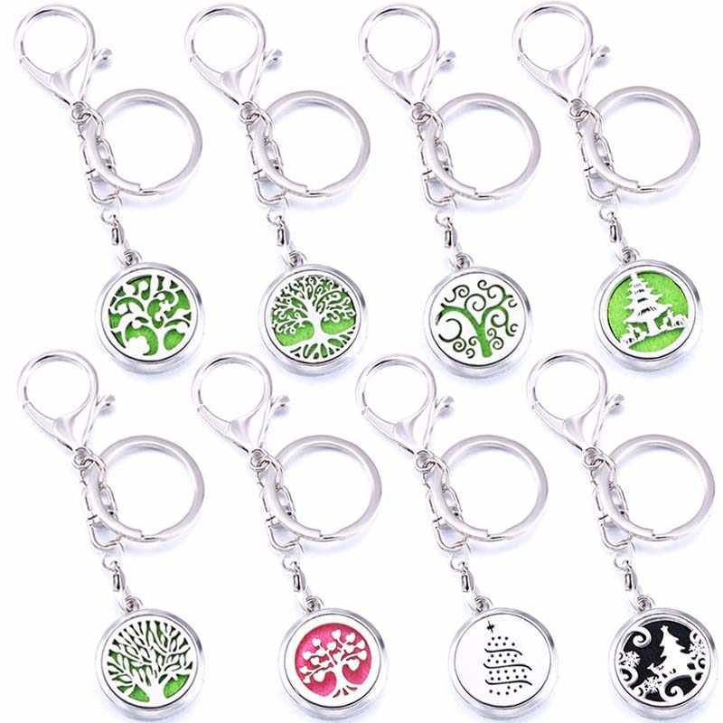 Tree of Life Stainless Steel Aroma Locket Keychain Perfume Aromatherapy Essential Oil Diffuser Lobster Buckle Christmas Tree
