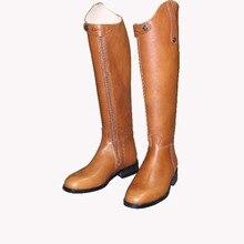 Aoud Saddley/ботинки для верховой езды из коровьей кожи; ботинки для Выездки; ботинки до колена; ботинки для конного спорта; обувь высокого качества; обувь унисекс на заказ с лямкой на шее