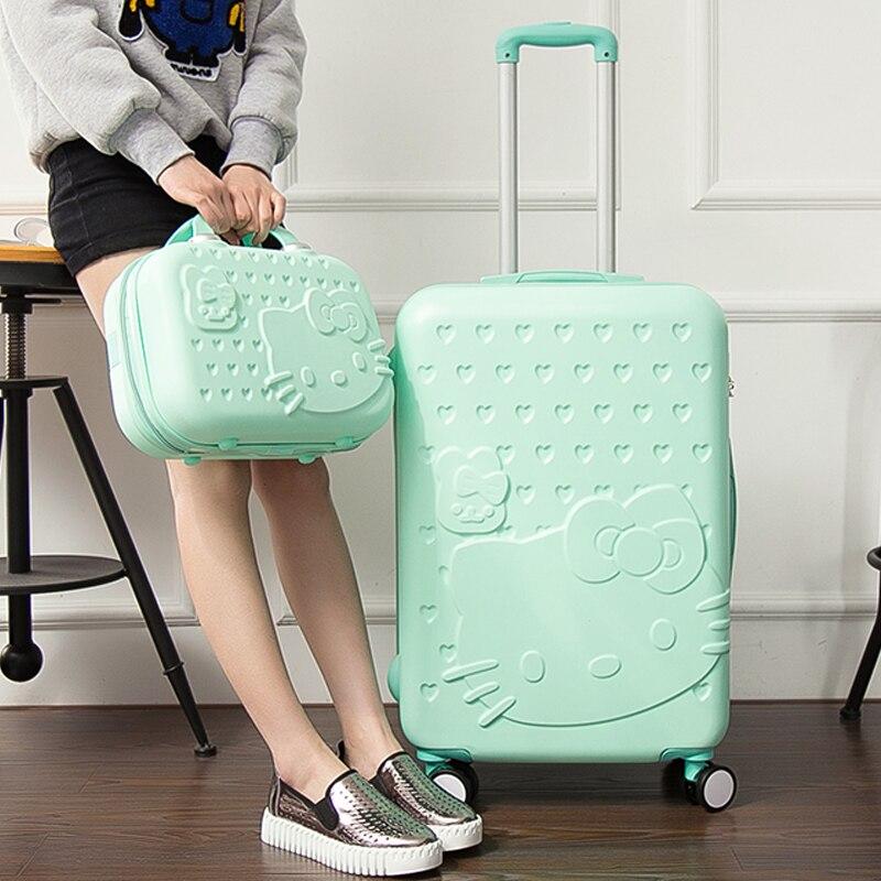 En gros! 14 20 pouces rose vert mode bagages sacs ensembles, voyage roues universelles chariot bagages photo pour fille