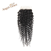 ANGEL GRACE Hair Brazilian Kinky Curly Closure Free Part 100 Human Hair Hand Tied Lace Closure