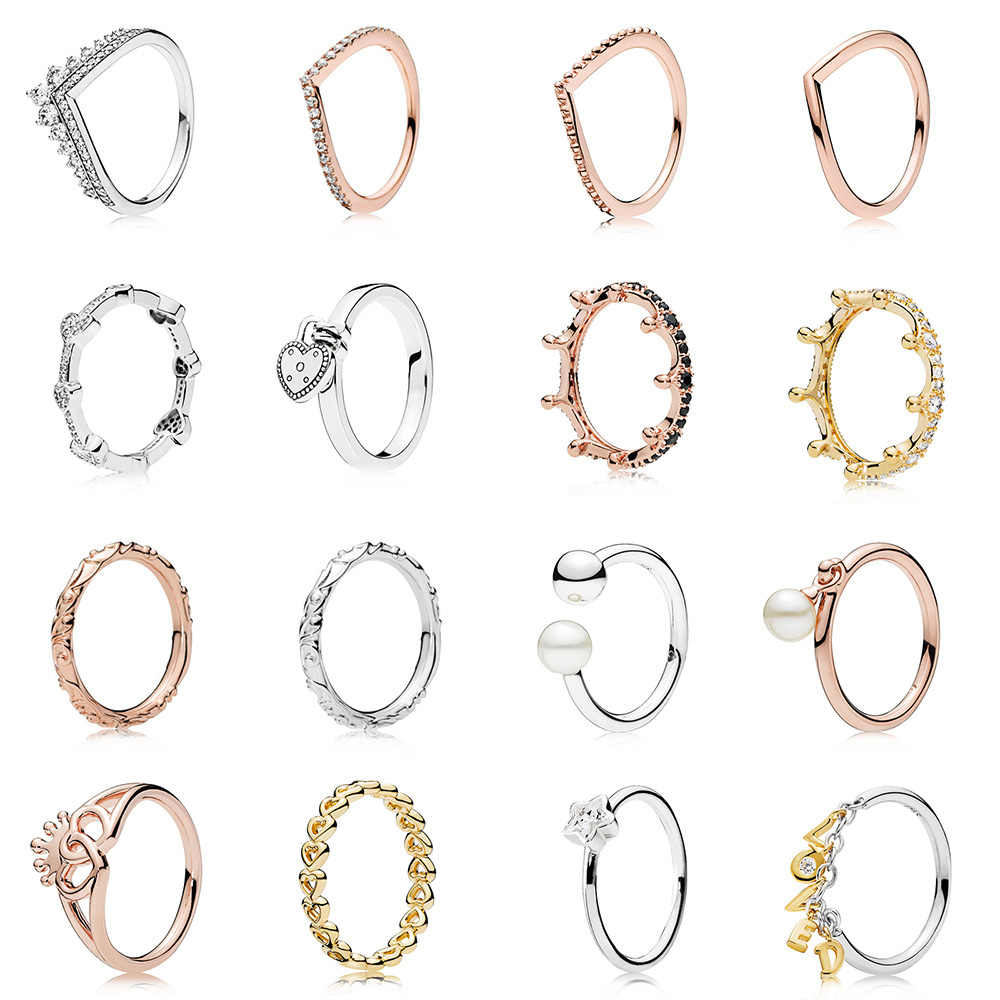 2019 New Silver Ring Charms Rose Gold Color Heart To Heart Queen Crown Style Finger Ring For Women Party Birthday Gift Jewelry