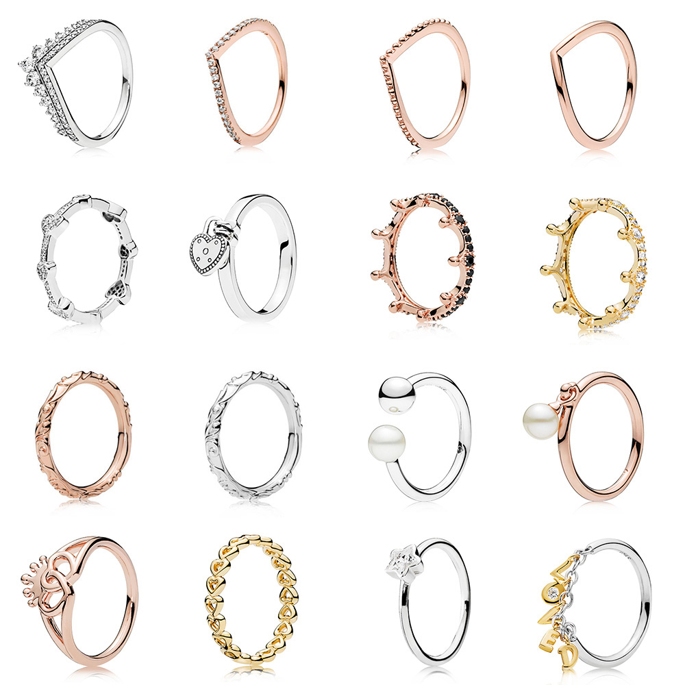 925 Sterling Silver Ring Charms Rose Gold Heart To Heart Queen Crown Style Finger Ring For Women 925 Party Birthday Jewelry(China)