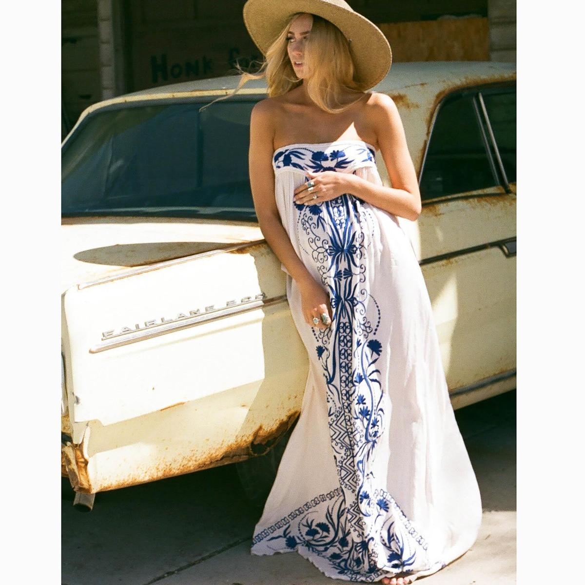 Broderie florale sans bretelles Maxi robe femmes vêtements d'été 2019 Vintage lâche robes blanches plage Hippie Boho Chic longue robe - 3