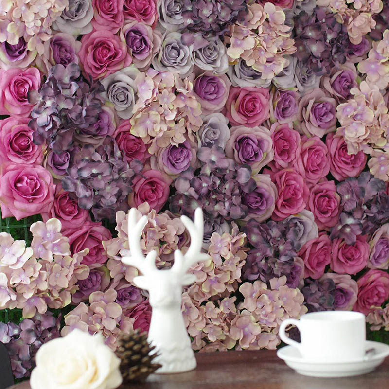 Mur d'hortensia Rose 60*40 CM/PC couture aléatoire décoration de mariage européen Simulation fleur Arrangement fleur artificielle