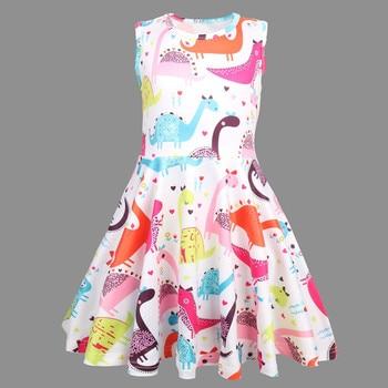 9cb60146d 2019 Peridemes niñas vestido Sleevesless ropa de bebé para niña dinosaurio  de dibujos animados impreso vestidos de princesa vestido de fiesta
