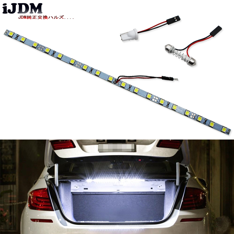 iJDM18-SMD-5050 T10 W5W LED Strip Light For Car Trunk Cargo Area or Interior Illumination, Ice Blue/6000K Xenon White/Blue,12V t10 1w 6000k 20 lumen 2x 5050 smd led car white light bulbs pair dc 12v