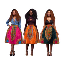 Retro African Indie Folk Knee Length Skirts For Women 2017 Print African Mix Color Mid Skirt