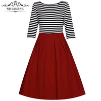 2017 Spring Summer Retro Vintage Stripe Dresses Plus Size Women Clothing Swing Black Red Autumn Dress