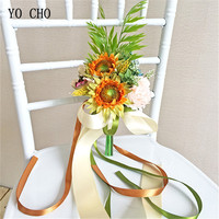 YO CHO creative artificial flower wedding decoration farmhouse chair flower Sunflower Peony pink DIY bridal bouquet for wedding