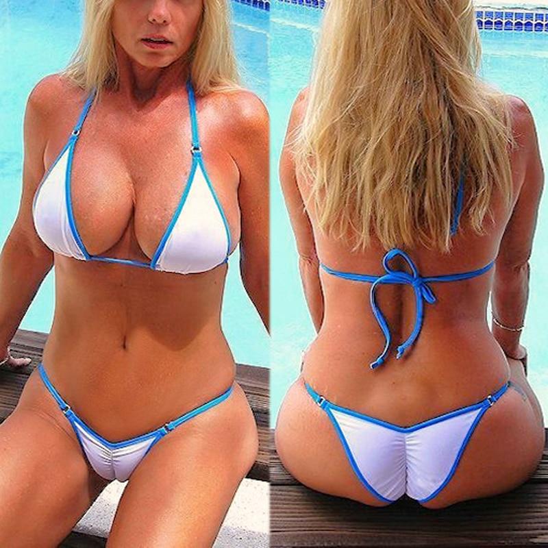 Esotico Perizoma Bikini 2018 Nuove Donne Spiaggia del Costume Da Bagno Sport Bikini Sexy Set Donne Bianco Vintage Costumi Da Bagno Retrò Femminile Costume Da Bagno