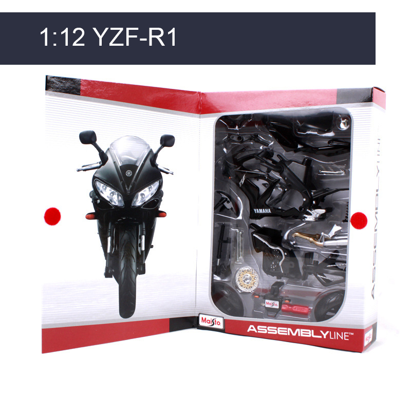 MAISTO YZF-R1 <font><b>Motorcycle</b></font> <font><b>Model</b></font> Kit 1:12 scale metal Assembly DIY <font><b>Motorcycle</b></font> Bike <font><b>Model</b></font> Kit Toy For Gift Collection image
