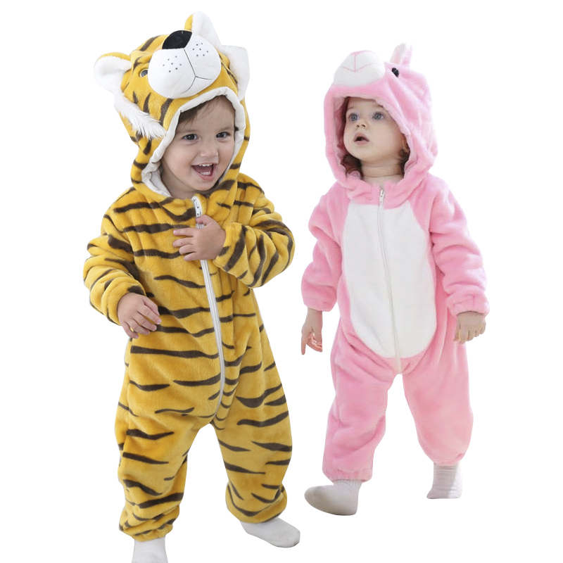 Soft Flannel Animal Kids Jumpsuit Baby Rompers Kawaii Warm Boy Girl Toddler Hooded Infants Newborn Romper Baby Clothes