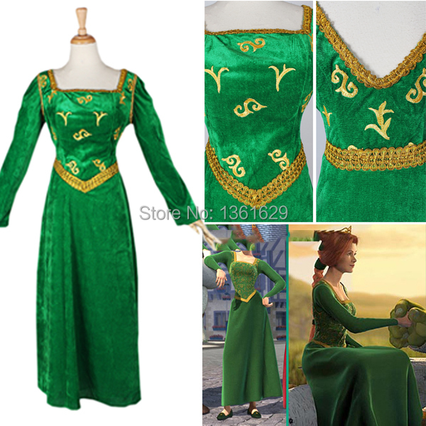 Shrek And Fiona Halloween Costumes | 2015 Hot Selling Halloween Costumes Cosplay For Women Shrek Cosplay