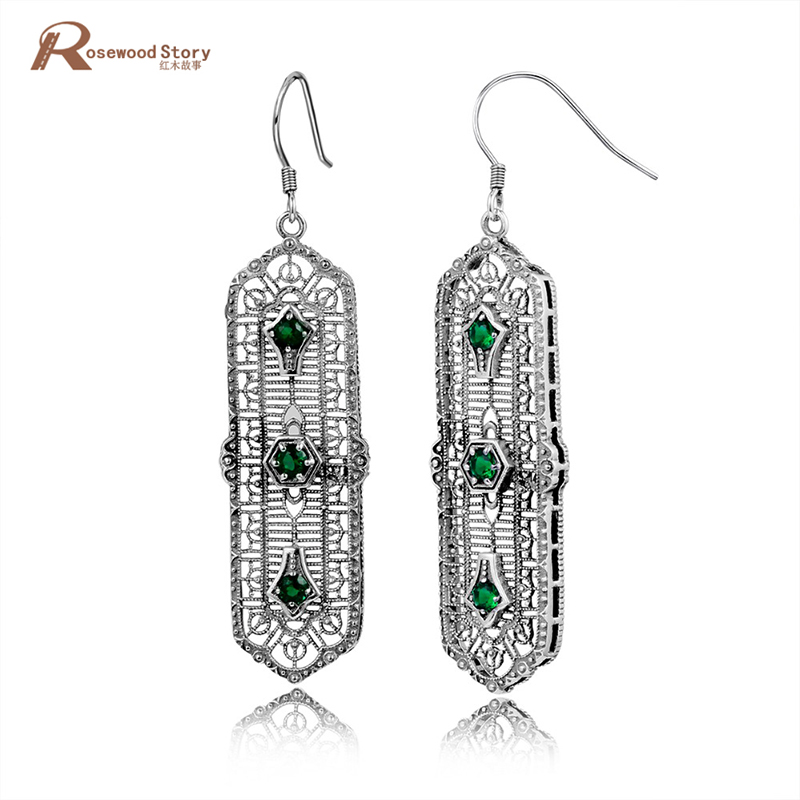 925 Sterling Silver Fashion Jewelry Earrings Lab Emerald Topaz CZ Stone Bohemia Vintage Earring for Women Evening Party Jewelry