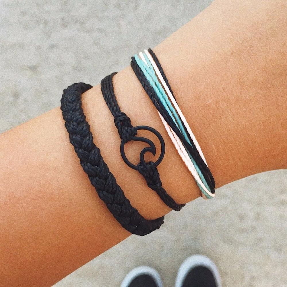 Vekno 3 pçs/set multicamadas boho praia onda pulseira de surf jóias ajustável trançado corda pulseira para mulher