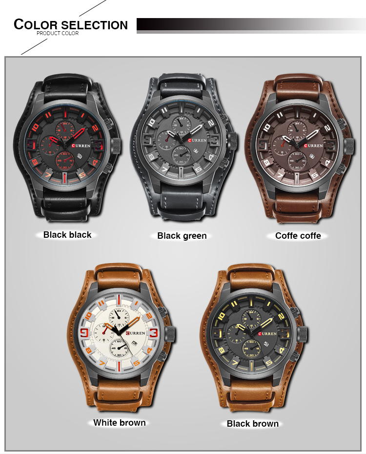 Relogio Masculino Mens Watches Top Brand Luxury Leather Strap Waterproof Sport Men Quartz Watch Military Male Clock Curren 8225 17