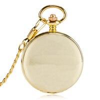 Luxury Yellow Gold Smooth Mechanical Pocket Watch Hand Winding Pendant Gift For Men Women Elder Double