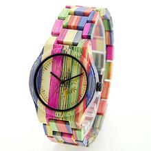 BEWELL Women Men Watch Elegant Colorful Bamboo Wood