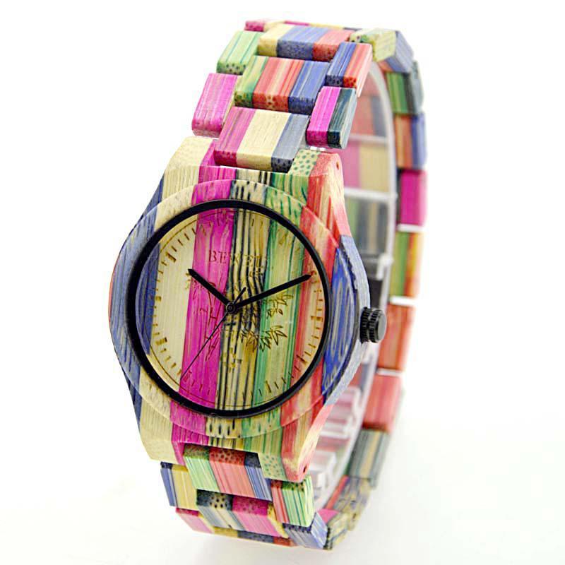 BEWELL mujeres hombres elegante colorido reloj de madera de bambú impermeable de moda reloj de pulsera de cuarzo (con caja de regalo)