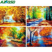 AZQSD Diamond Mosaic Scenery Rhinestones Pictures Painting Colorful Forest Embroidery Full Set Wall Decor