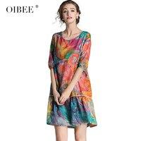OIBEE Summer Floral Print Casual A line Mini Women O neck Half Sleeve Plus Size Loose Shorts Dresses Vestidos Female