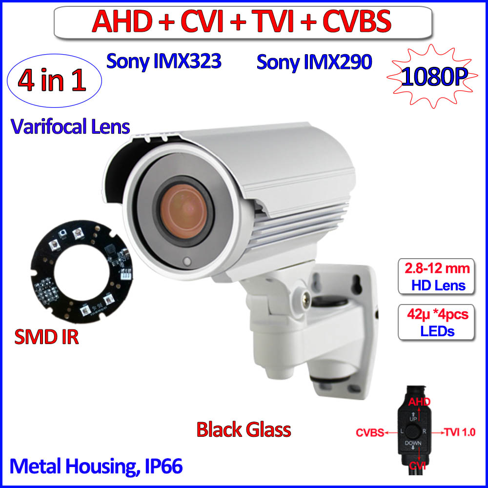 2MP AHD-H CVI TVI CVBS surveillance camera 4in1 1080P outdoor camaras de seguridad, Varifocal Lens, 42 LEDs, OV2710, bracket OSD 4 5 inch 1080p ahd ptz camera 2 0mp ahd tvi cvi cvbs 4 in 1 medium speed dome camera outdoor