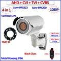CVI TVI 2MP AHD-H CVBS 4en1 cámara de vigilancia 1080 P al aire libre camaras de seguridad, Lente de distancia focal variable, 42 LEDs, OV2710, soporte OSD