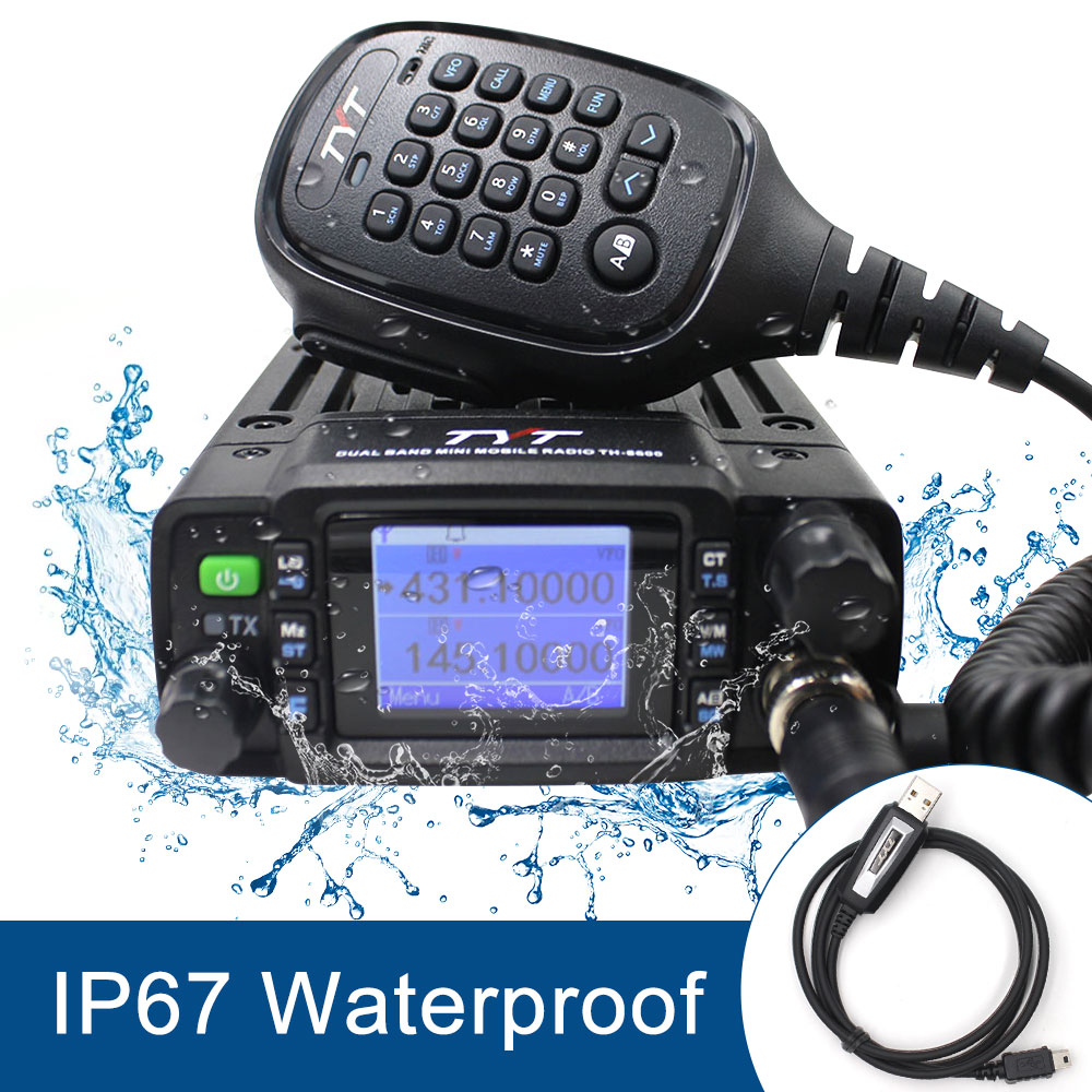 TYT 25W Min Car Moblie Radio TH-8600 IP67 Waterproof Dual Band 136-174MHz/400-480MHz Dual Display Dual Standby Trucktransceiver