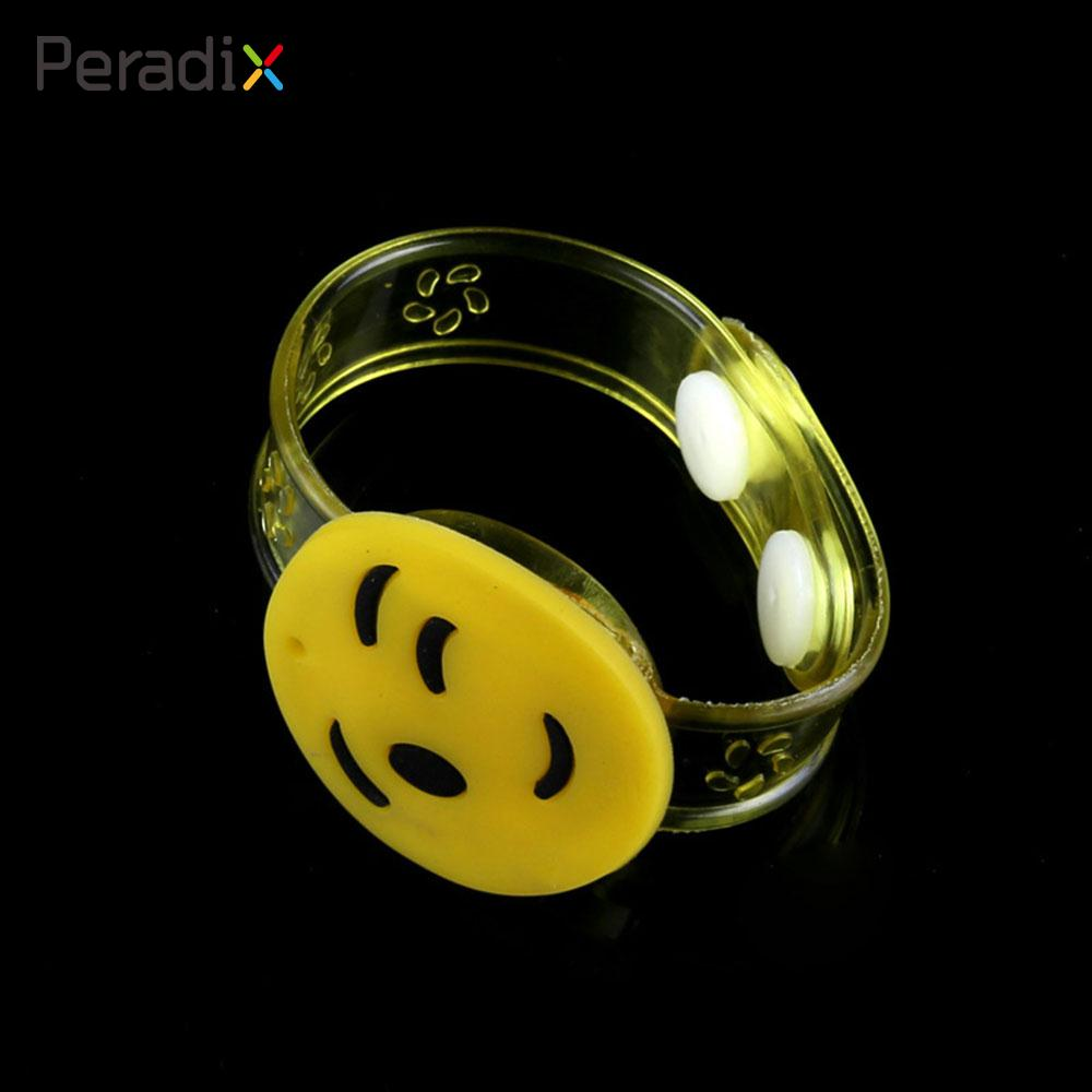 Yellow Bracelet PVC Cartoon Battery-Operated Smile Face Music Concert Decor Wristband