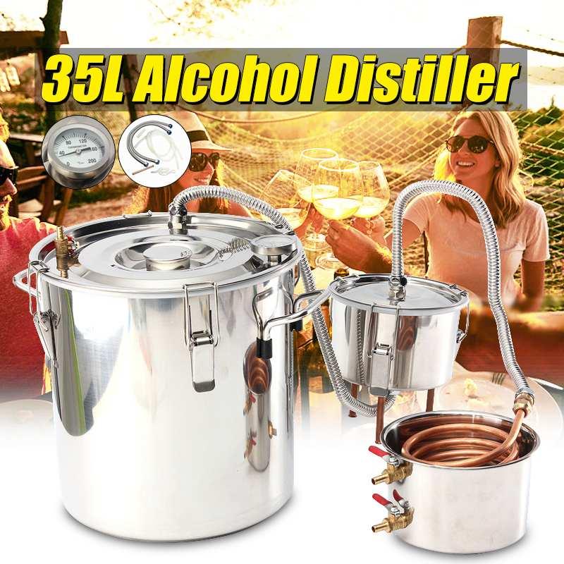 Дистиллятор для воды, 35 л медный Moonshine спиртовой виски бойлер из нержавеющей стали домашний кухонный пивоваренный + Thumper keg + конденсаторный
