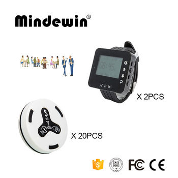 Mindewin 433MHz Restaurant Pagerss 2PCS Watch Pager M-W-1 and 20PCS Table Call Button M-K-4 Coaster Pager System
