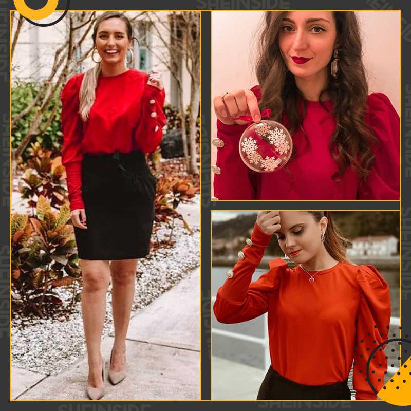 Sheinside Офисная женская футболка, женская футболка с рукавом из баранины, футболка с кнопками, рубашки, осень 2018, элегантные женские Топы с длинным рукавом