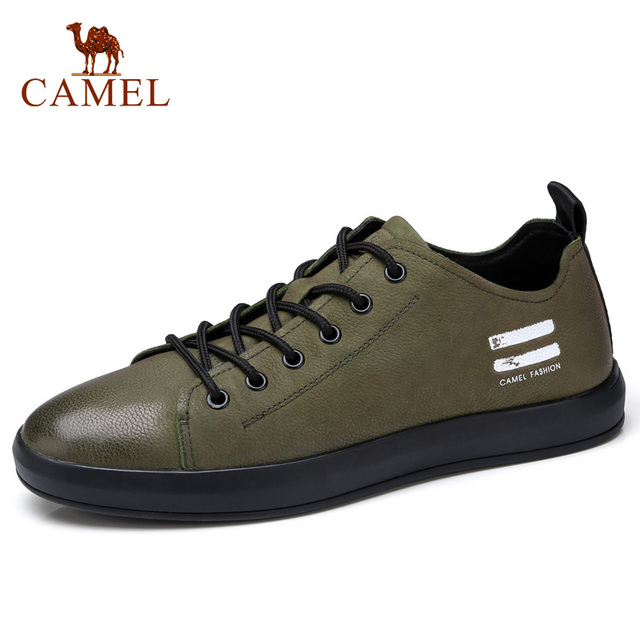 CAMEL Mens Genuine Leather Casual Shoes Classic Fashion Male Lace up Flats Black White Men Flat Heel Daily Comfortable Footwear