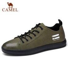Zapatos casuales de piel auténtica CAMEL para hombre, zapatos planos blancos y negros a la moda para hombre, calzado diario cómodo de tacón plano