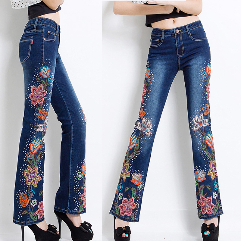Aliexpress buy vintage fashion fall summer womens aliexpress buy vintage fashion fall summer womens embroidery flower stretch beading flare denim trousers ladies decorated flared jeans pants from ccuart Images