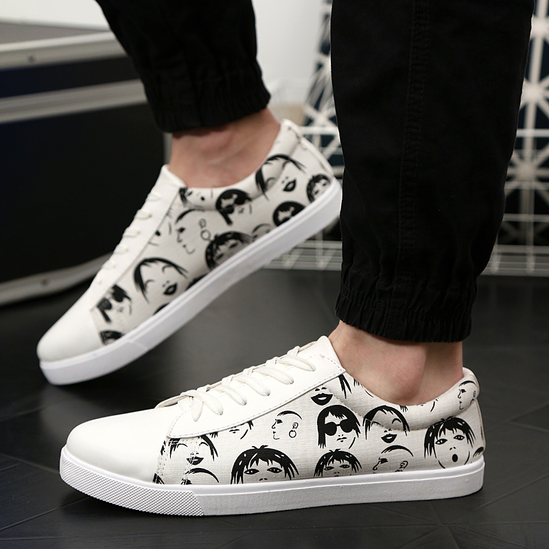 white color man shoes hand painted head sculpture on vamp mens canvas print smile face boys
