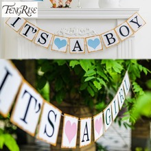 FENGRISE 3M Paper Baby Shower Banner Garlands Decoration Its A Boy Girl Bunting 1st Birthday I Am One Party Favors Supplies