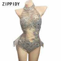 Glisten Silver Rhinestones Mesh Bodysuit Women's Dance Party Wear Nightclub Female Singer Show Outfit Sexy Feather Leotard