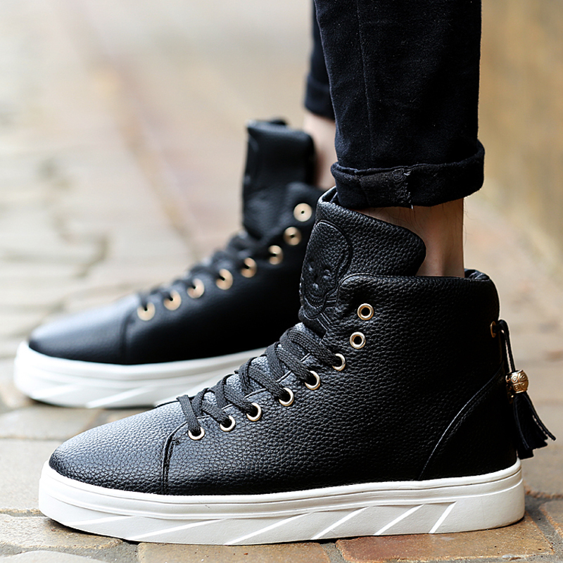 b9d6bfc66954 Cool Fashion Skull Embossing Leather High Top Platforms Casual Shoes Mens  Ankle Boots Rocky Hip Hop Skate Shoes Flats wz Tassel-in Men s Casual Shoes  from ...