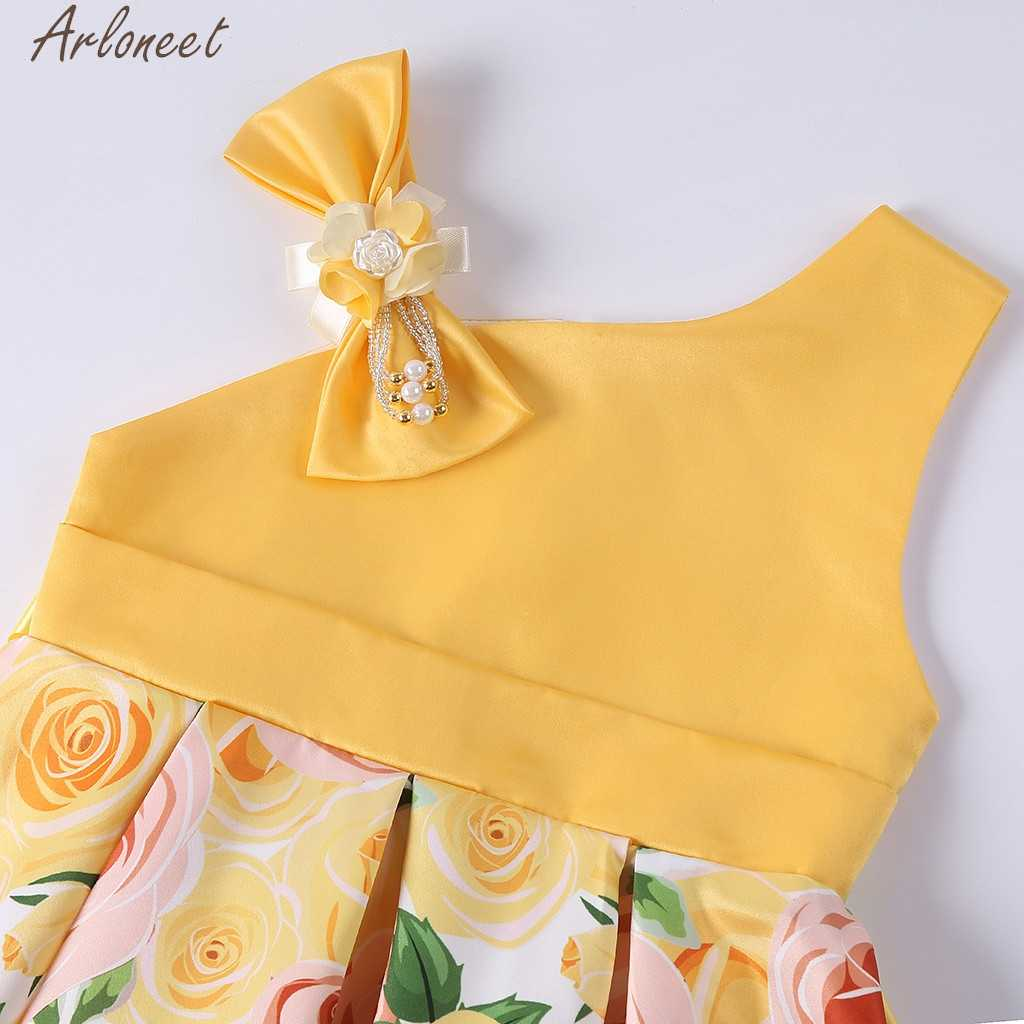ARLONEET модная одежда с цветочным принтом для маленьких девочек; платье принцессы; платье подружки невесты на платье для театрализованного представления Платье для дня рождения, свадебных торжеств Праздничное платье 19Apr17 P35