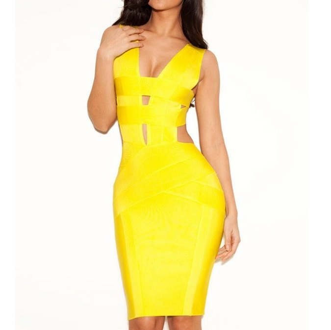Yellow Sheath Sleeveless V Neck Sexy Club Dress 2016 Women Short Cocktail Party Bodycon Bandage Dress Wholesale