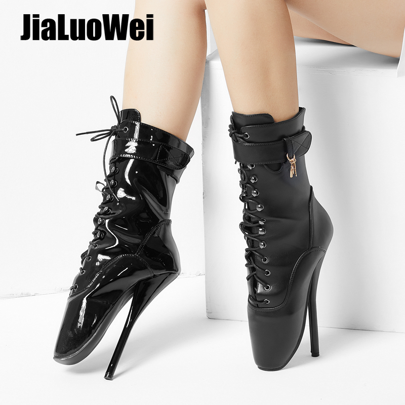 jialuowei 7 Spike High Heel BALLET Black lace up Mid-calf Boots Fetish ballet boots plus size 36-46 jialuowei brand new high heel 7 18cm wedges heel ballet boots sexy fetish lace up patent leather knee high long boots plus size