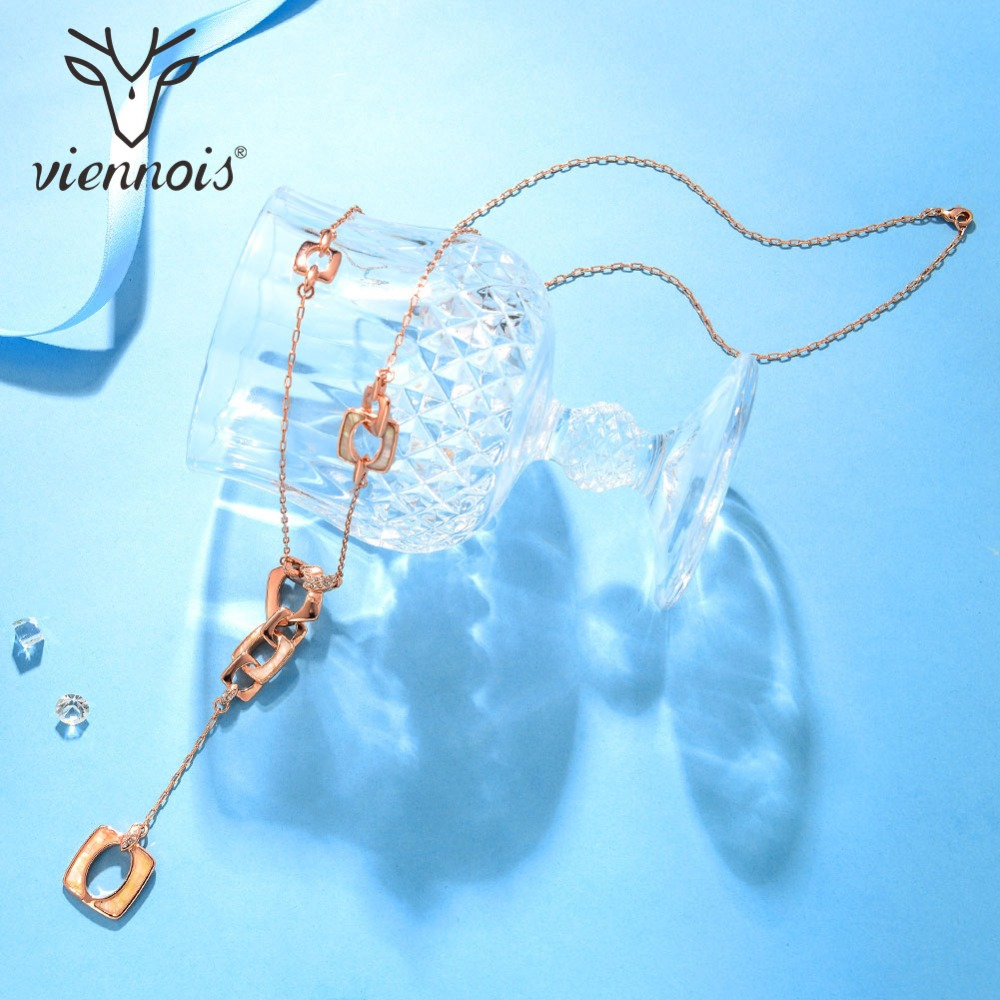 Viennois Rose Gold Color Long Necklace for Women Rhinestone Sea Shell Chain Necklaces Female Elegant Necklaces Party Jewelry rhinestone rose floral necklace